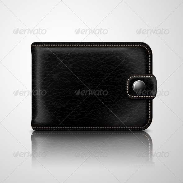 Classic Black Wallet Leather Textured - Man-made Objects Objects