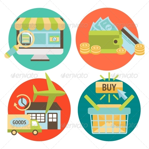 Online Shopping Business Icons Set - Retail Commercial / Shopping