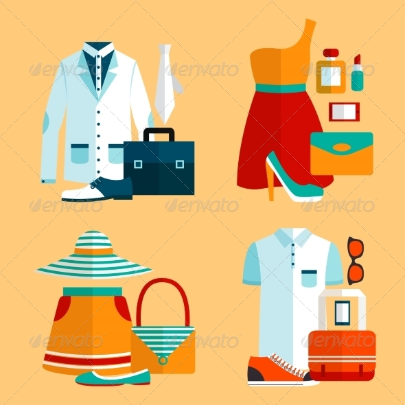 Shopping Clothing Icons Set - Retail Commercial / Shopping
