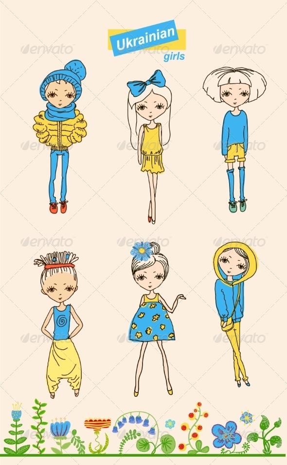 Set of Teenage Ukrainian Girls - People Characters