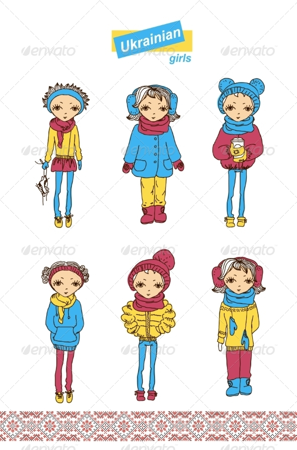Set of Teenage Ukrainian Girls - People Characters
