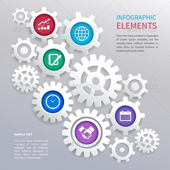 Gears Infographic Template - Web Technology