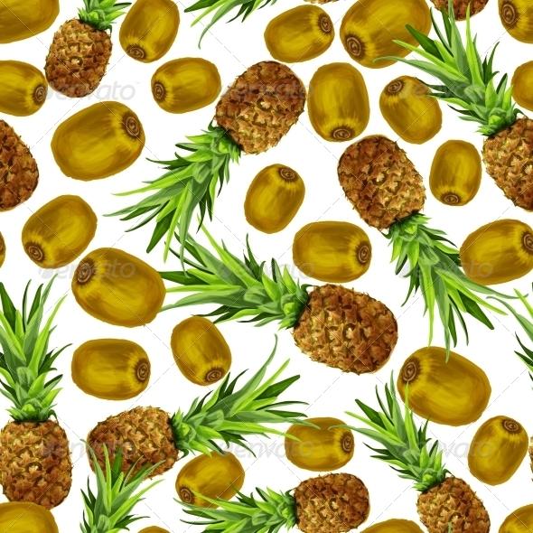 Pineapple and Kiwi Seamless Pattern - Backgrounds Decorative
