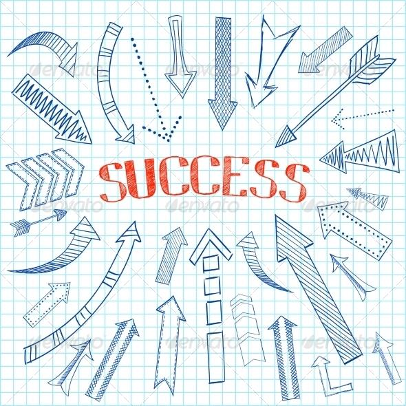 Success Arrows Icon Sketch - Web Elements Vectors