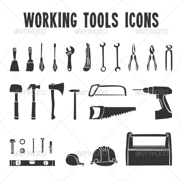 Working Tool Box Icons Set - Web Elements Vectors