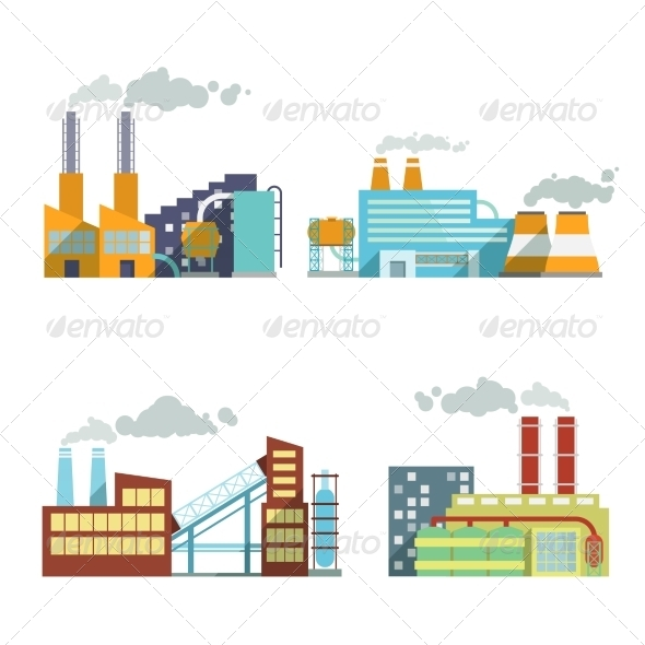 Building Industry Icons Set - Buildings Objects