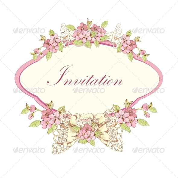 Blooming Cherry Invitation - Borders Decorative