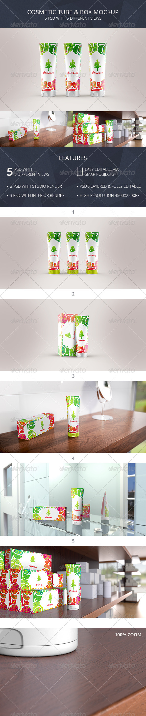 Cosmetic Tube & Box Mockup (Toothpaste Packaging) - Beauty Packaging