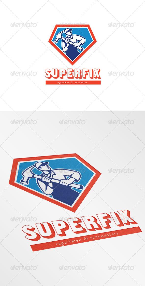 Superfix Repairman and Renovators Logo - Humans Logo Templates