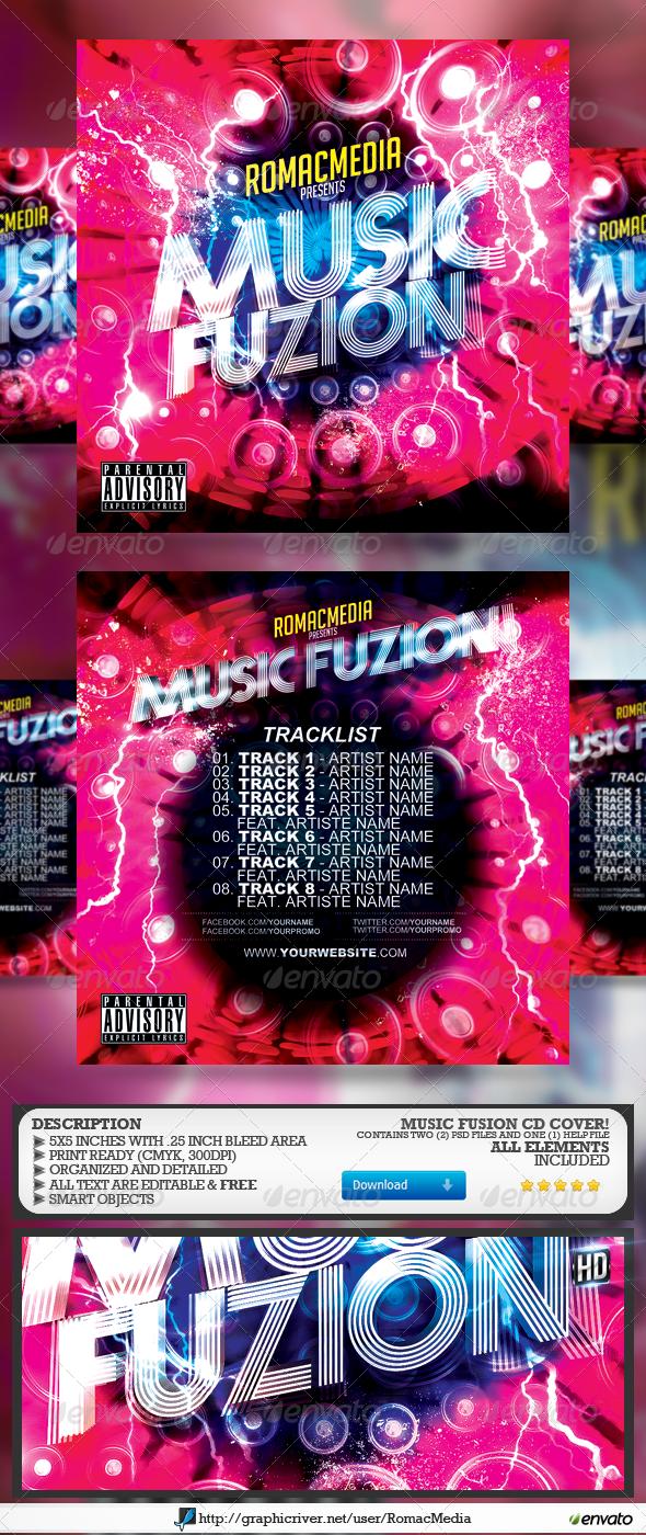Music Fusion CD Cover - CD & DVD Artwork Print Templates