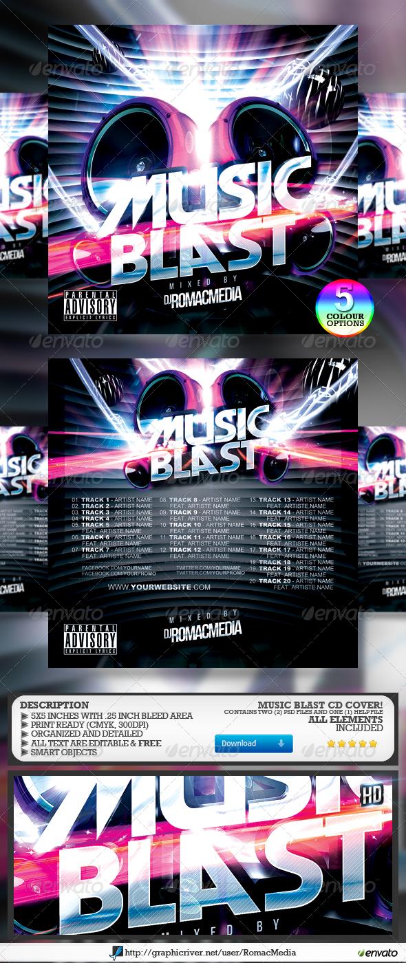 Music Blast CD Cover - CD & DVD Artwork Print Templates