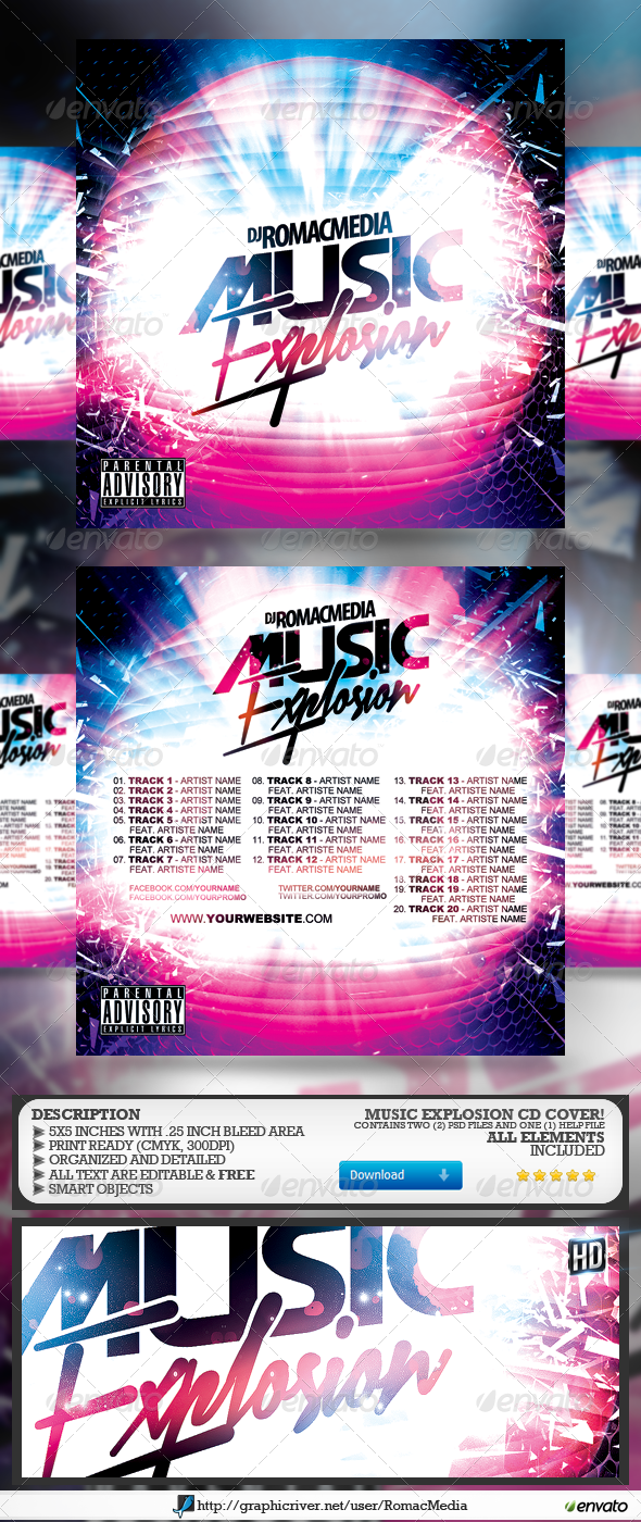 Music Explosion CD Cover  - CD & DVD Artwork Print Templates