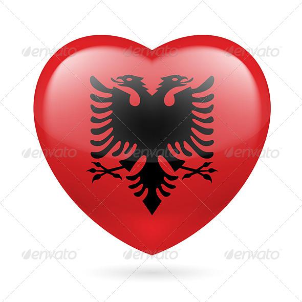 Heart Icon of Albania - Miscellaneous Vectors