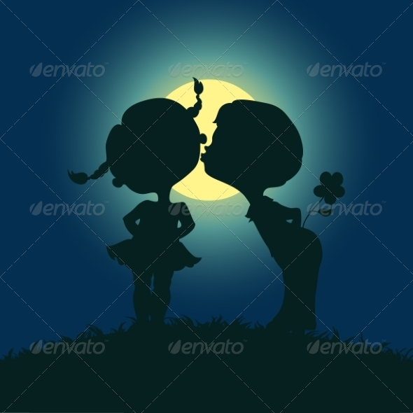 Moonlight Silhouettes of Kissing Boy and Girl - Valentines Seasons/Holidays