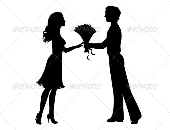 Silhouette of a Man and Woman - Valentines Seasons/Holidays