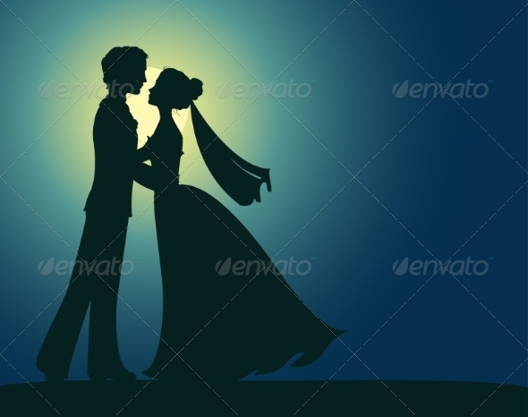 Silhouettes of Bride and Groom - Weddings Seasons/Holidays
