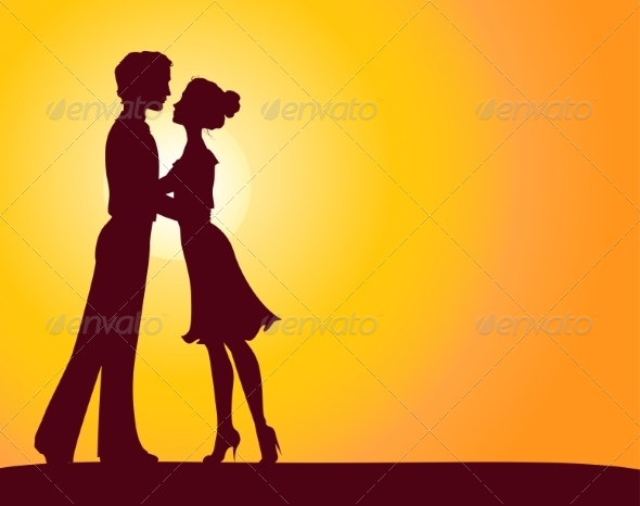 Silhouettes of Man and Woman - People Characters