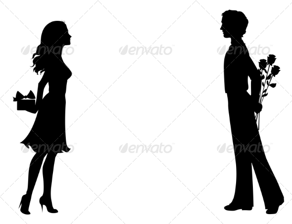 Silhouettes of Man and Woman with Gifts - Valentines Seasons/Holidays