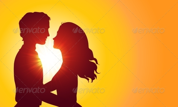 Sunset Silhouettes of Kissing Couple - Valentines Seasons/Holidays