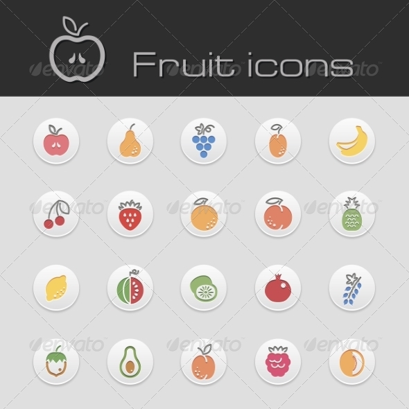 Icons Set Fruits - Food Objects