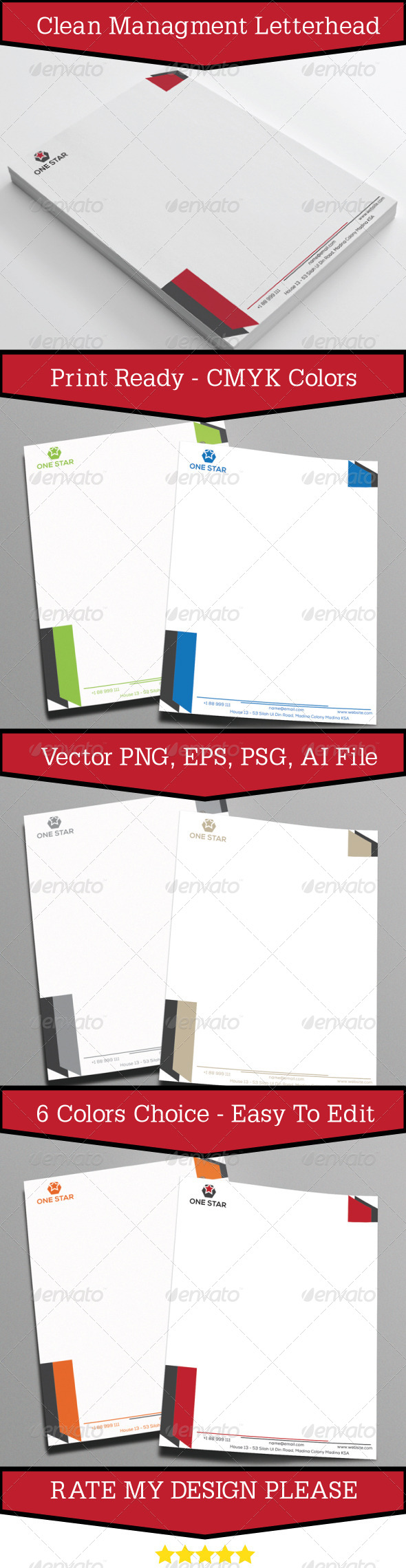 Clean Management Letterhead - Stationery Print Templates