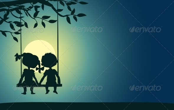 Moonlight Silhouettes of a Boy and Girl - Valentines Seasons/Holidays