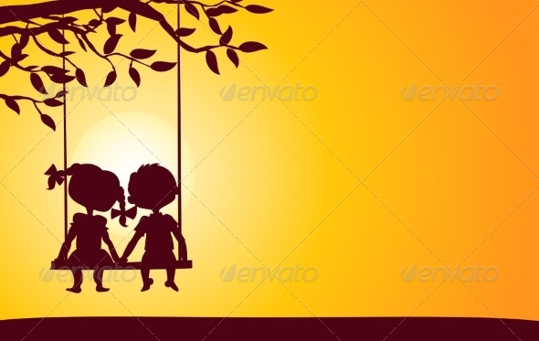 Sunset Silhouettes of Boy and Girl - Valentines Seasons/Holidays