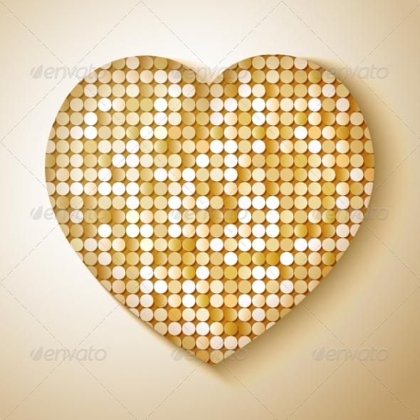 Shiny Sequins Heart - Borders Decorative