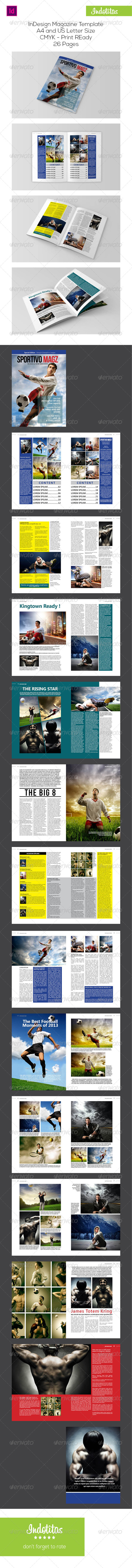 Sport InDesign Magazine Template - Magazines Print Templates