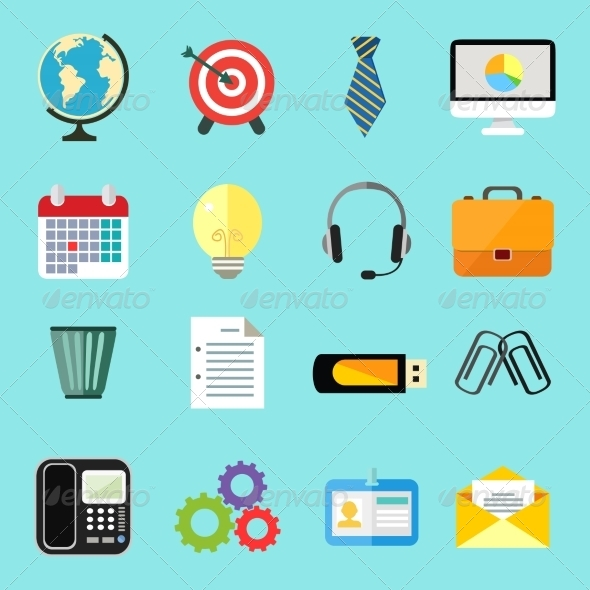 Business Flat Icons Set - Business Icons