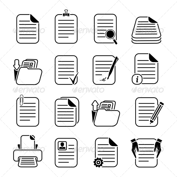 Documents Files and Folders Icons Set - Business Icons