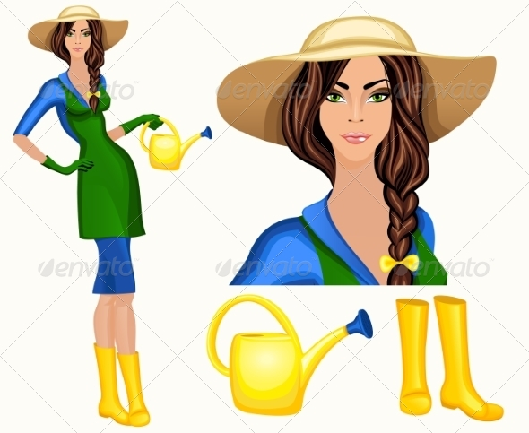 Young Woman Garden Worker - People Characters