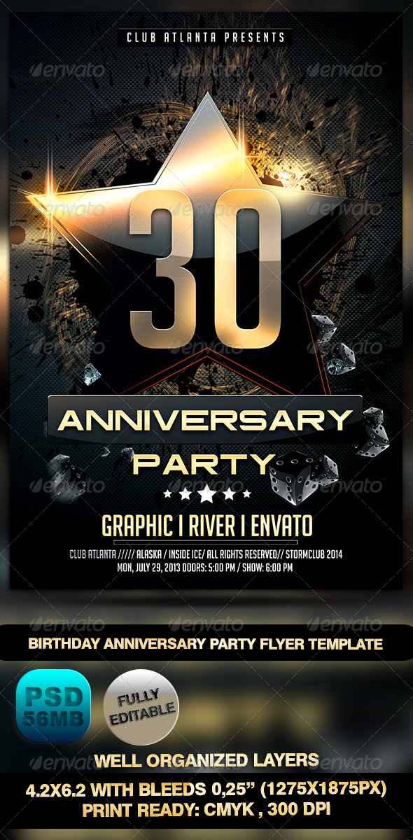 Anniversary Flyer | Birthday Anniversary Party Flyer Template By Stormclub Graphicriver