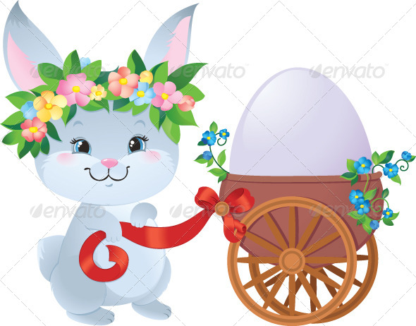 Easter Bunny with Egg in a Small Cart - Animals Characters