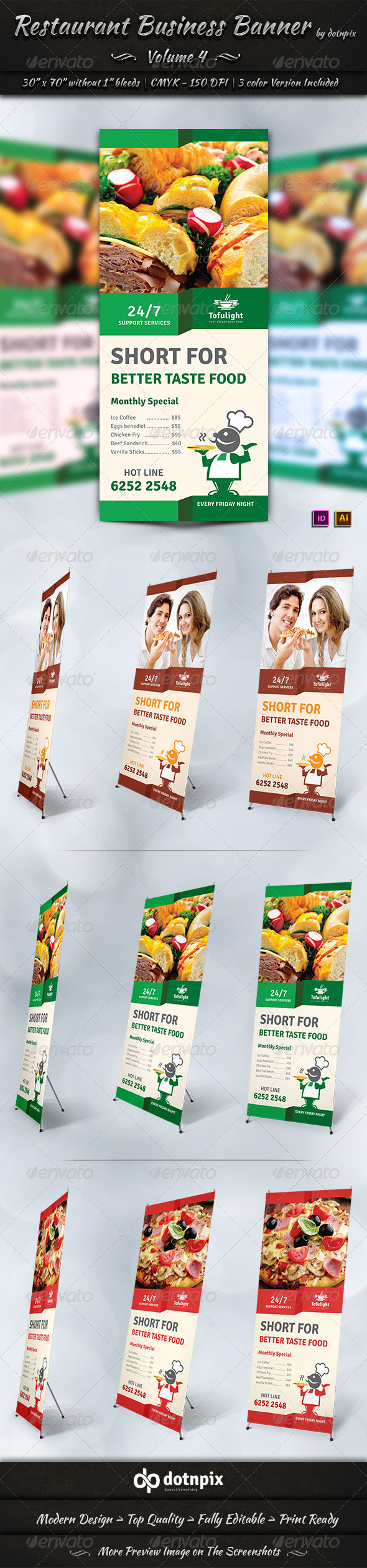 Restaurant Business Banner | Volume 4 - Signage Print Templates