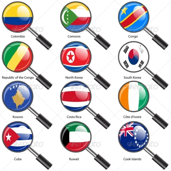 Set  Flags of World Sovereign States Magnifying Glass - Web Elements Vectors
