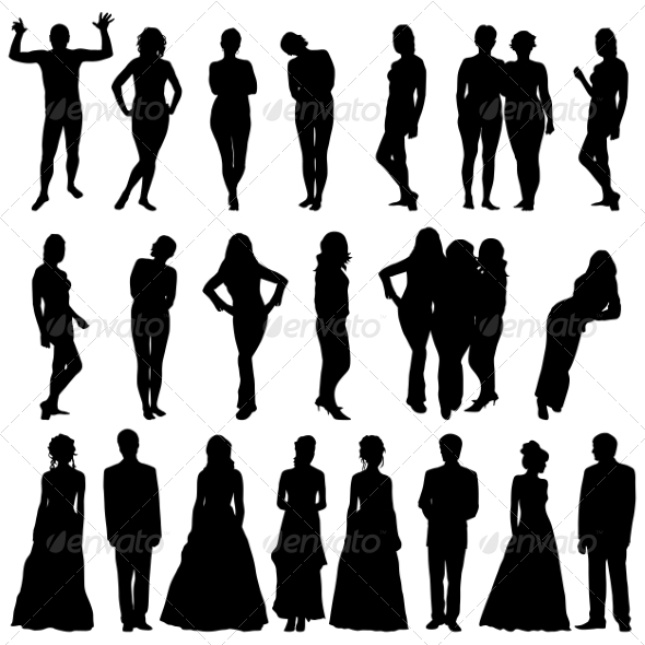 Silhouettes of Beautiful Men and Women - People Characters
