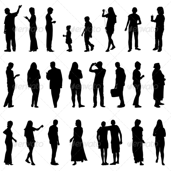 Silhouettes of Beautiful Mens and Women - People Characters