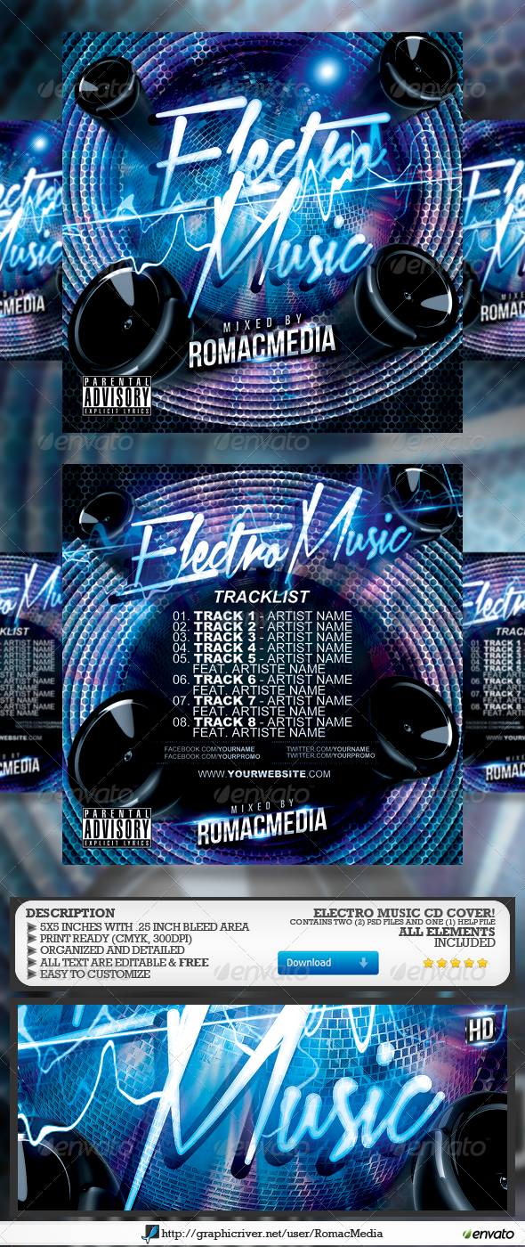 Electro Music CD Cover - CD & DVD Artwork Print Templates