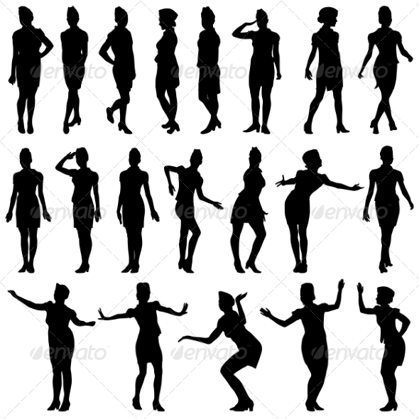 Silhouettes of Beautiful Stewardess Girls - People Characters