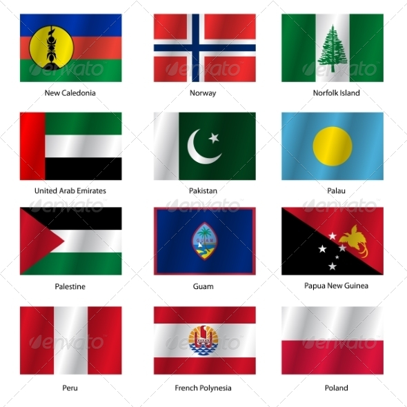 Set Flags of World Sovereign States - Vector Illustration - Web Elements Vectors