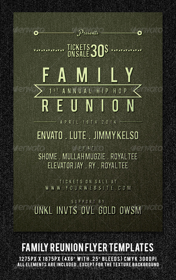Superb Family Reunion Flyer Template   Clubs U0026 Parties Events On Family Reunion Flyer