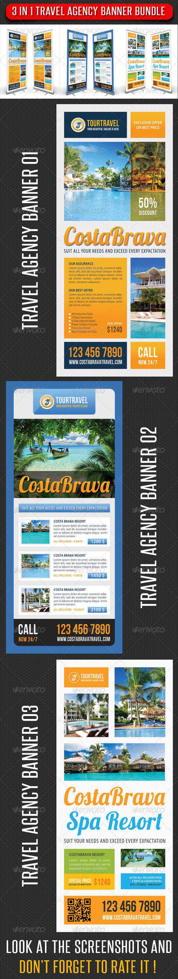 3 in 1 Travel Agency Banner Bundle 02 - Signage Print Templates