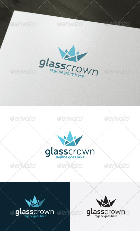 Glass Crown Logo - Vector Abstract
