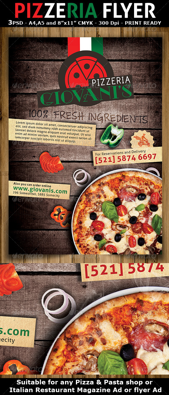 pizzeriaitalian restaurant ad flyer template restaurant flyers