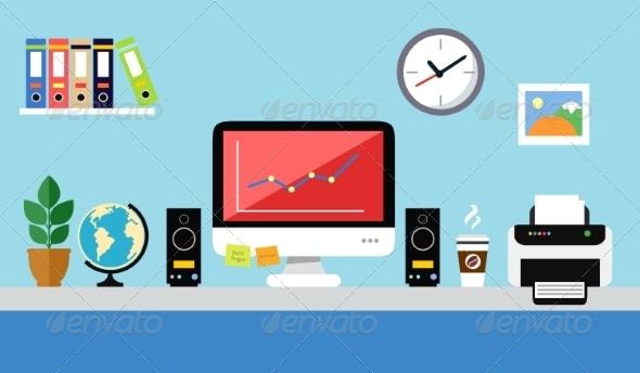 Office Workstation Design - Backgrounds Business