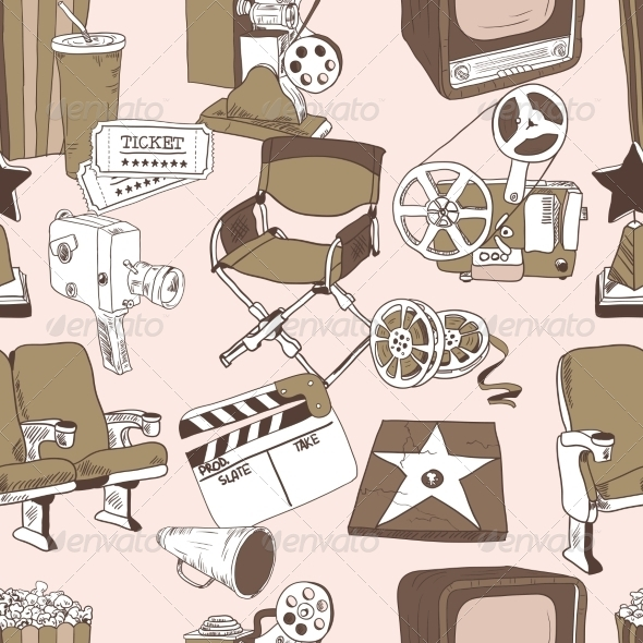 Doodle Cinema Seamless Pattern - Backgrounds Decorative