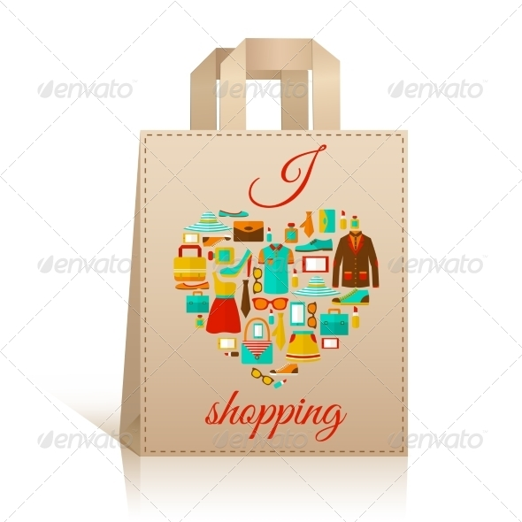 Love Heart Shopping Bag Symbol - Retail Commercial / Shopping