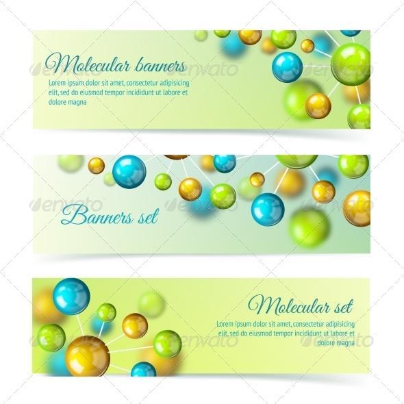 Colored Molecule Banners 3d Set - Concepts Business