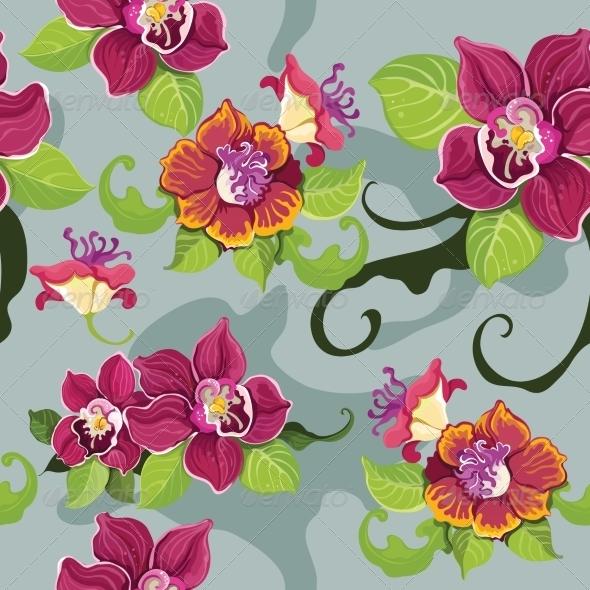 Seamless Tropical Flower Wallpaper - Backgrounds Decorative